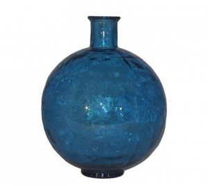 Demeure et Jardin - vase boule en verre bleu turquoise - Soliflore