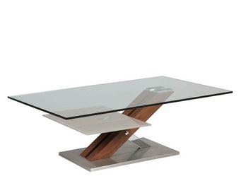 WHITE LABEL - table basse en verre et bois - ray - l 120 x l 70 - Table Basse Rectangulaire