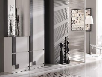 WHITE LABEL - meuble d\'entrée blanc/cendre + armoire + miroir - Meuble D'entrée