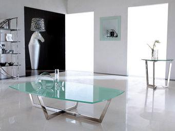 WHITE LABEL - table basse kiara - transparent - Table Basse Rectangulaire