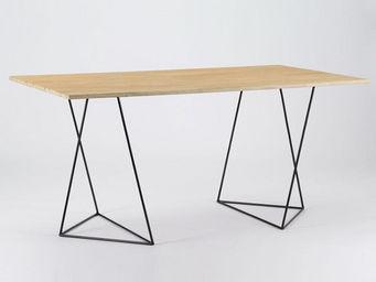 Amadeus - table à manger treteau - bois naturel - Table De Repas Rectangulaire