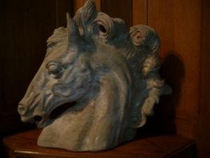 Hippocante - tête de cheval en bronze patine antique - Sculpture Animalière