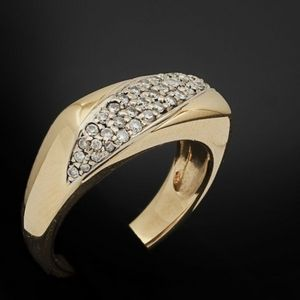 Expertissim - bague bandeau or jaune et diamants - Bague
