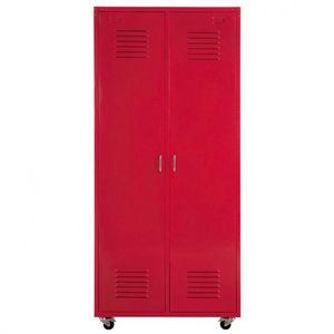 Maisons du monde - dressing rouge loft - Armoire À Portes Battantes