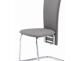 CLEAR SEAT - chaises grises simili cuir tempo lot de 4 - Chaise