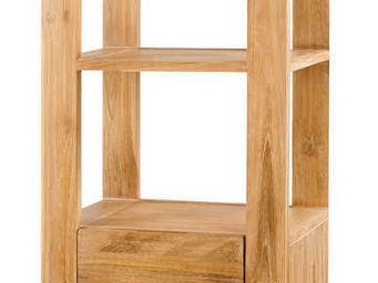 ZAGO - colonne 1 tiroir-1 porte en teck - Colonne De Rangement