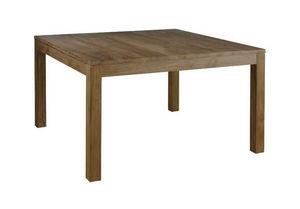 INWOOD - table carrée en teck recyclé grisé maestro 140x140 - Table De Repas Carrée