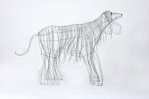 Marie Christophe - lévrier afghan - Sculpture Animalière
