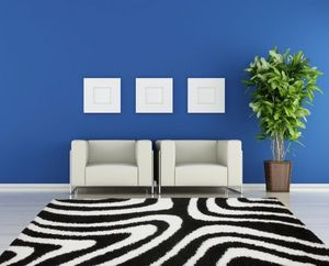 NAZAR - tapis chillout 120x170 black-white - Tapis Contemporain