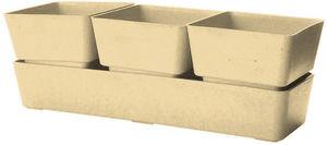 MARC VERDE - jardinière beige 3 pots en bambou et résine 31x10, - Jardinière