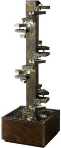 Cactose - fontaine spirale 180 en pierre de schiste 60x60x18 - Fontaine Centrale D'extérieur