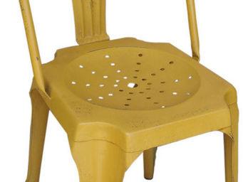 Antic Line Creations - chaise vintage en métal jaune - Chaise