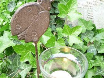 Esschert Design - photophore de jardin coccinelle à planter en fonte - Photophore
