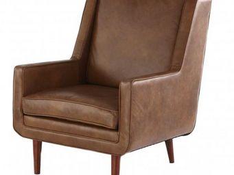 ZAGO - fauteuil bjorn en cuir vieilli marron clair 76x84x - Fauteuil