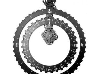 INVOTIS - horloge à engrenages 2 roues noir - Pendule Murale