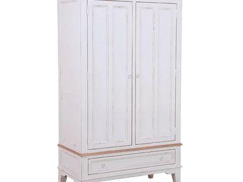 Interior's - armoire blanche 2 portes 1 tiroir - Armoire � Portes Battantes