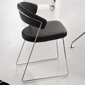 Calligaris - chaise design new york en cuir noir et acier chrom - Chaise