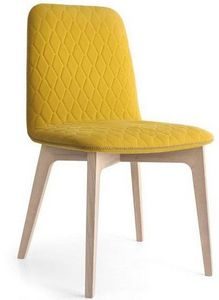 Calligaris - chaise sami en bois naturel et tissu jaune moutard - Chaise