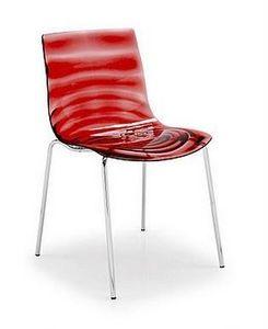 Calligaris - chaise design l'eau de calligaris rouge transpare - Chaise