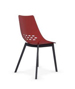 Calligaris - chaise jam w de calligaris rouge piétement graphit - Chaise