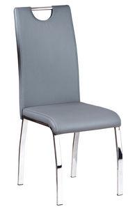 COMFORIUM - lot de 2 chaises en simili cuir gris et métal chro - Chaise