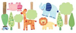 Wallies - stickers chambre bébé le zoo - Sticker Décor Adhésif Enfant