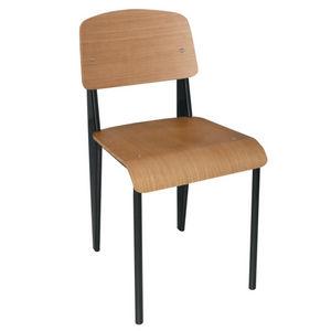COMFORIUM - lot de 4 chaises simples en bois avec pieds noirs - Chaise