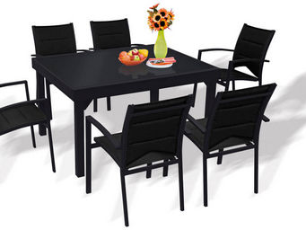WILSA GARDEN - salon 6 personnes modulo noir en aluminium et text - Salle À Manger De Jardin