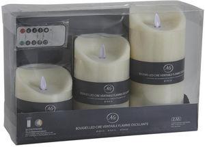 Aubry-Gaspard - coffret 3 bougies leds vanille avec télécommande - Fausse Bougie Électrique