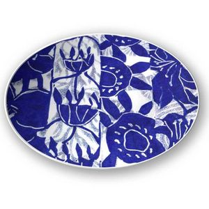 la Magie dans l'Image - assiette végétal bleu blanc - Assiette De Présentation