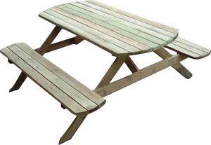 Cihb - table pique-nique avec bancs en bois rondo - Table Pique Nique