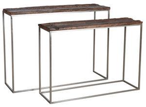 Aubry-Gaspard - console en acier patiné et bois massif (lot de 2) - Console