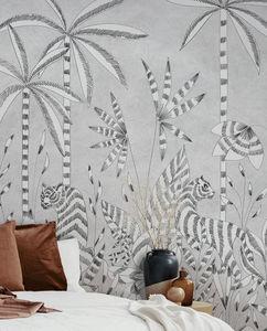 ISIDORE LEROY - paradis des tigres grisaille - Papier Peint Panoramique