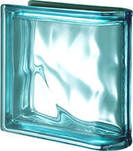 Seves Glassblock - pegasus metallizzato acquamarina ter lineare o met - Brique De Verre Terminale Linéaire