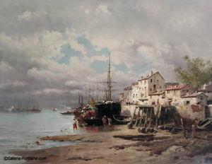 Fontaine - scène de port - Huile Sur Toile Et Huile Sur Panneau