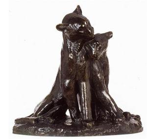 Galerie P. Dumonteil - couple de panthères - Sculpture Animalière