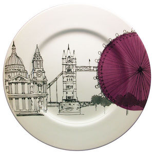 Poole Pottery - cities in sketch dinner plate london - Assiette Décorative