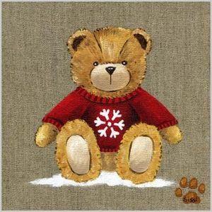 LILI POUCE - tableau ours garçon au pull rouge tableau personna - Tableau Décoratif Enfant