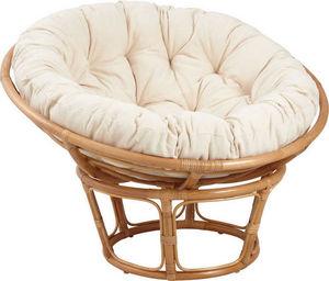 Aubry-Gaspard - fauteuil papasan en rotin avec coussin écru - Fauteuil De Jardin