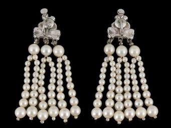 Expertissim - paire de pendants d'oreilles en perles de culture - Boucles D'oreilles