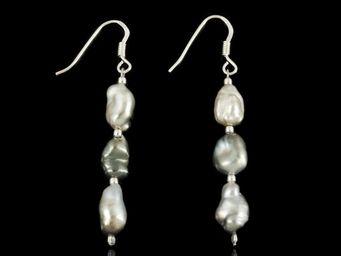 Expertissim - paire de boucles d'oreilles, perles de tahiti et - Boucles D'oreilles