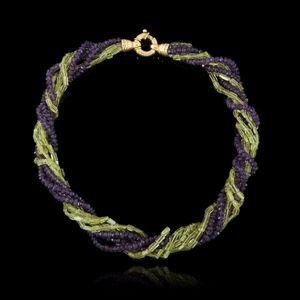 Expertissim - collier torsadé en perles d'améthystes et péridot - Collier