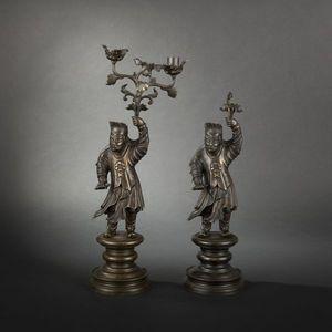 Expertissim - asie du sud est. paire de personnages en bronze - Flambeau