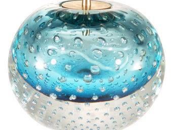 LE SOUFFLE DE VERRE - lampe � huile en verre souffl� bleue turquoise - Lampe � Huile