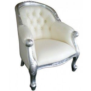 DECO PRIVE - fauteuil de mariage argente et aspect cuir blanc - Fauteuil Crapaud