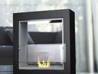 Up Trade - chemine noir laque au bio-ethanol poser mirror fi - Chemin�e Sans Conduit D'�vacuation