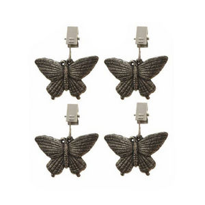 WHITE LABEL - lot de 4 poids serre-nappe décoratifs papillons - Poids De Nappe