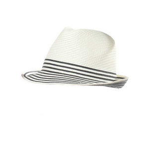 WHITE LABEL - chapeau trilby mixte paille pliable uni avec rayur - Chapeau
