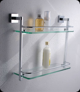 EASY SANITARY - wall mounted double glass shelf - Etagère De Salle De Bains