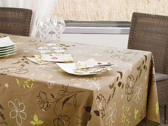 FLEUR DE SOLEIL - nappe enduite cam'lia taupe rose 160x160 - Nappe Enduite